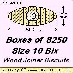 1 Box of 8250 Size 10 Bix Wood Biscuit Joiners