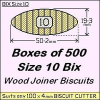 1 Bag of 500, Size 10 Bix Wood Biscuit Joiners