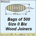 1 Bag of  500, Size 0 Bix Wood Biscuit Joiners