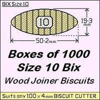 1 Box of 1000, Size 10 Bix Wood Biscuit Joiners