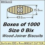 1 Box of 1000, Size 0 Bix Wood Biscuit Joiners