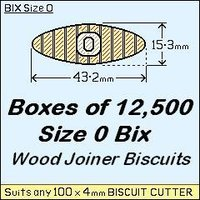 1 Box of 12,500 Size 0 Bix Wood Biscuit Joiners