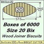 1 Box of 6000, Size 20 Bix Wood Biscuit Joiners