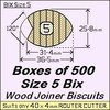 1 Bag of 500, Size 5 Bix Wood Biscuit Joiners