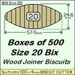 1 Bag of 500 Size 20 Bix Wood Biscuit Joiners.