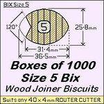 1 Box of 1000, Size 5 Bix Wood Biscuit Joiners
