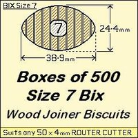 1 Bag of 500, Size 7 Bix Wood Biscuit Joiners