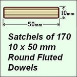 1 Satchel of 170, 10 x 50mm Round Fluted Dowels
