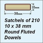 1 Satchel of 210, 10 x 38mm Round Fluted Dowels