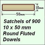 1 Satchel of 900, 10 x 50mm Round Fluted Dowels