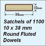 1 Satchel of 1100, 10 x 38mm Round Fluted Dowels