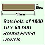 1 Satchel of 1800, 10 x 50mm Round Fluted Dowels