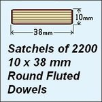1 Satchel of 2200, 10 x 38mm Round Fluted Dowels