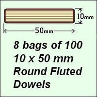 8 Bags of 100, 10 x 50mm Round Fluted Dowels