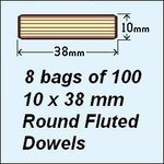 8 Bags of 100, 10 x 38mm Round Fluted Dowels