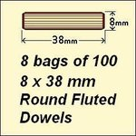 8 Bags of 100, 8 x 38mm Round Fluted Dowels