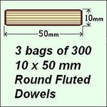 3 Bags of 300, 10 x 50mm Round Fluted Dowels