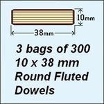 3 Bags of 300, 10 x 38mm Round Fluted Dowels