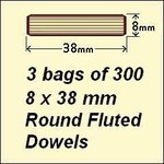 3 Bags of 300, 8 x 38mm Round Fluted Dowels