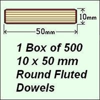 1 Box of 500, 10 x 50mm Round Fluted Dowels