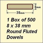 1 Box of 500, 8 x 38 Round Fluted Fluted Dowels