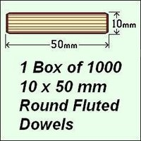 1 Box of 1000, 10 x 50mm Round Fluted Dowels