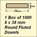 1 Box of 1000, 8 x 38mm Round Fluted Dowels
