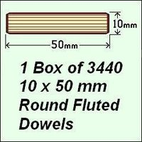 1 Box of 3440, 10 x 50mm Round Fluted Dowels