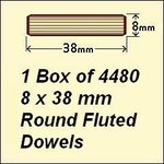 1 Box of 4480, 8 x 38mm Round Fluted Dowels
