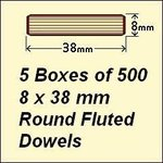5 Boxes of 500, 8 x 38mm Round Fluted Dowels