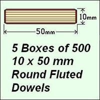 5 Boxes of 500, 10 x 50mm Round Fluted Dowels