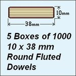 5 Boxes of 1000, 10 x 38mm Round Fluted Dowels