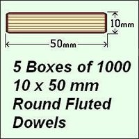 5 Boxes of 1000, 10 x 50mm Round Fluted Dowels