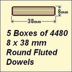 5 Boxes of 4480, 8 x 38 Round Fluted Dowels