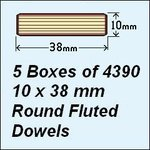 5 Boxes of 4390, 10 x 38mm Round Fluted Dowels