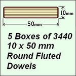 5 Boxes of 3440, 10 x 50mm Round Fluted Dowels