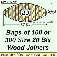 8 Bags of 100 Size 20 Bix Wood Biscuit Joiners
