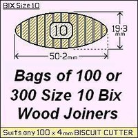 8 bags of 100 Size 10 Bix Wood Biscuit Joiners