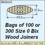 8 bags of 100 Size 0 Bix Wood Biscuit Joiners