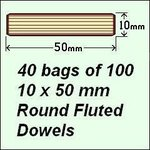 40 bags of 100, 10 x 50mm Round Fluted Dowels