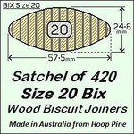 1 Satchel of 420, Size 20 Bix Wood Biscuit Joiners
