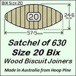 1 Satchel of 630, Size 20 Bix Wood Biscuit Joiners