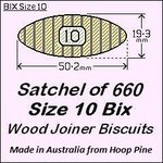 1 Satchel of 660, Size 10 Bix Wood Biscuit Joiners