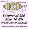 1 Satchel of 990, Size 10 Bix Wood Biscuit Joiners