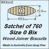 1 Satchel of 760, Size 0 Bix Wood Biscuit Joiners
