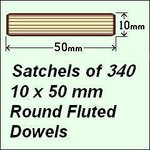 1 Satchel of 340, 10 x 50mm Round Fluted Dowels