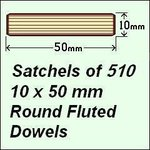 1 Satchel of 510, 10 x 50mm Round Fluted Dowels