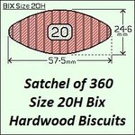 1 Satchel of 360, Size 20H Hardwood Biscuit Joiners