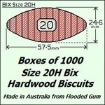 1 Box of 1000, Size 20H Bix Hardwood Biscuits