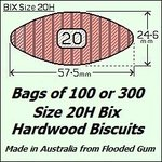 8 Bags of 100 Size 20H Bix Hardwood Biscuits
